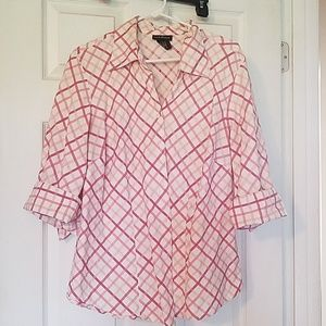 Lane Bryant pink and blue button up
